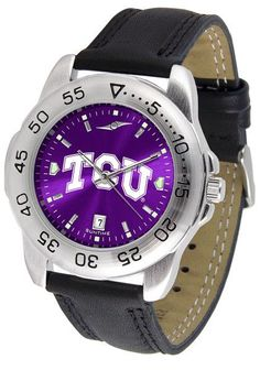 Texas Christian Horned Frogs Men Sport Watch With Leather Band & AnoChrome Dial