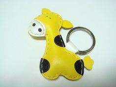 Gil the Giraffe Leather Keychain  Yellow  by leatherprince on Etsy, $20.90