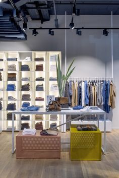 Perforated steel boxes in distinct colours in Closed store Bikini Berlin. Interior design: PHILIPP MAINZER (2013). Photo: Philipp Mainzer. #fashion #display