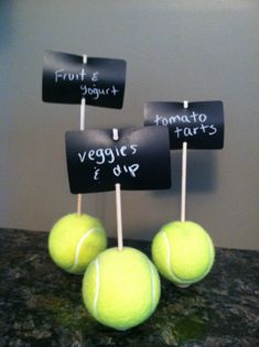 Tennis Ball Chalkboard Signs.