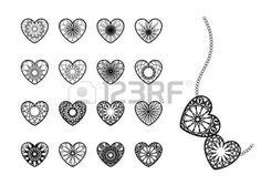 tatuaggio cuore: Cuore simboli ornamentali Vettoriali