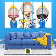 Cute Dogs at Hairdresser, Multi Panel Framed Canvas, Funny Dogs at Hair Salon Wall Art, Animal Dog Print Decor, Pet Groomer Decoration Gift by GTCreativeArt on Etsy Bird Wall Art, Home Wall Art, Canvas Frame, Canvas Wall Art, Salon Art, Dog Artwork, Custom Canvas Prints, Cute Notebooks, Animal Decor