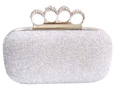 This Silver Glitter Rhinestone Knuckle Duster Clutch is perfect for the edgy bride.  Available at Chicastic.com for $39.99.  Re-pin to share with all the brides-to-be!