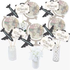 World Awaits - Travel Themed Party Centerpiece Sticks - Table Toppers - Set of 15 - Walmart.com