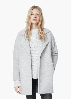 Abrigo lana solapas - Abrigos de Mujer | MANGO