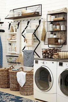 Perfectly Farmhouse Laundry Room Decor Ideas 02 Contemporary home design has allowed laundry machines to be set in the space they are most needed right close to the closet. Now let's look at the opposite side of the laundry room. Laundry Room Remodel, Laundry Room Cabinets, Laundry Room Organization, Diy Cabinets, Laundry Closet, Laundry Room Shelves, Laundry Storage, Utility Room Storage, Basement Laundry