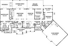Craftsman European Traditional House Plan 72221 Level One  Make the patio/deck an enclosed office/craft room and this would be great!