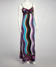 Take a look at this Turquoise & Purple Wave Maxi Dress on zulily today!