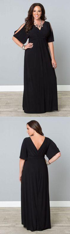 Curvalicious Clothes :: Plus Size Dresses :: Coastal Cold Shoulder Dress - Black Noir