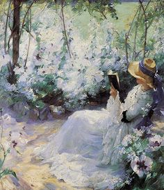 ⊰ Posing with Posies ⊱ paintings of women and flowers - 'Delicious Solitude' ~Frank Bramley