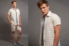 Wolf vs Goat Picnic Shirt and Riviera Short in Pastel Stripe Gauze, V-Neck Tee in Midnight Blue.