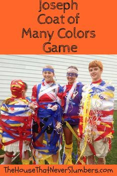 Joseph and the Coat of Many Colors Game - Don't miss this great youth ministry game for your Joseph Bible lesson. This idea is perfect for Sunday School, youth group, or Vacation Bible School. Bible School Games, School Games For Kids, Sunday School Crafts For Kids, Bible School Crafts, Sunday School Activities, Preschool Bible, Vacation Bible School, Bible Crafts, School Ideas