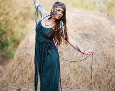 ORGANIC MAXI DRESS - Boho Hippie Long Elegant Prom Wedding Party Couture Burning man - Teal Blue Turquoise
