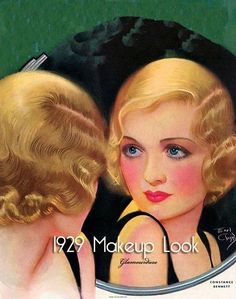 20's makeup: lips painted in the shape of a Cupid's bow, kohl-rimmed eyes, bright cheeks brushed with bright red blush and very defined eyebrows