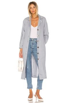 Shop for L'Academie The Olivia Trench in Dusty Blue at REVOLVE. High Low Gown, Summer Coats, Sophisticated Dress, Leather Trench Coat, Dusty Blue, Pop Fashion, Denim Shirt, Shirt Outfit, Clothes For Women