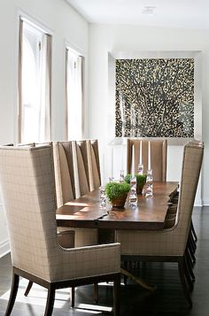 Great High Back Dining Chairs + Table Means A Cozy Comfortable Dining Experience.  No Stiff Muscles