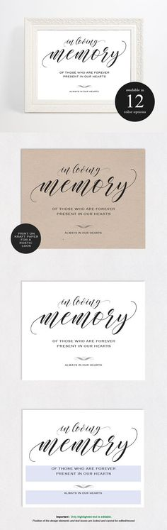 In Loving Memory Sign. Invitation Templates. $8.00