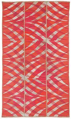 Märta Måås-Fjetterström and Barbro Nilsson; Wool Flat-Weave 'Paula, röd' Rug, 1964.