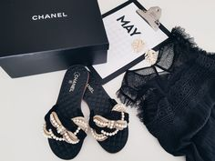Chanel pearl slippers