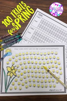 Practice 100 articulation trials using this spring themed sheet.