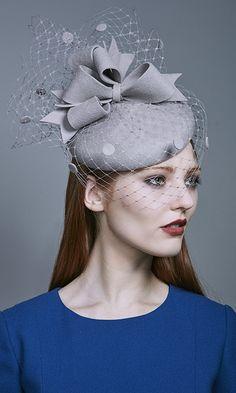 Rachel Trevor Morgan Millinery Autumn Winter 2016 Silver grey felt beret  with veiling and felt spots d2a3997c2bd0