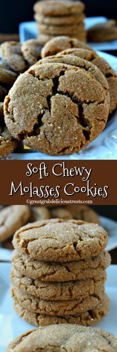 When is the last time you had some soft chewy molasses cookies? These cookies are just that. soft, chewy and delicious! So soft, so chewy, so delicious! Cookie Desserts, Just Desserts, Cookie Recipes, Delicious Desserts, Dessert Recipes, Yummy Food, Cookie Jars, Crinkle Cookies, Cookies Soft