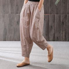 Babakud Summer Plaid Casual Loose Cotton Linen Elastic Waist PantsYou can find Fashion pants and more on our website. Linen Pants Women, Pants For Women, Clothes For Women, Salwar Designs, Loose Pants Outfit, Pants Style, Casual Pants, Salwar Pants, Elastic Waist Pants