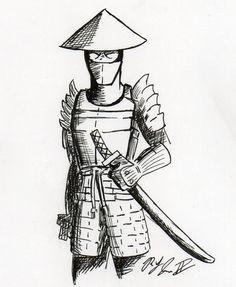 samurai drawings simple drawing easy warrior tattoo japanese anime sword cartoon traditional deviant tattoos superhero