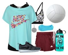 """Volleyball Practice "" by dejonggirls ❤ liked on Polyvore featuring NIKE, adidas and Victoria's Secret PINK"