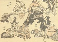 More random scenes by Hokusai -- samurai regarding a Kappa; playing with a magnifying glass; and a Strong Man act fails to impress a busy woman