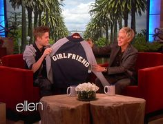 On the Ellen show.   Google Image Result for http://style.mtv.com//wp-content/uploads/style/2012/05/justin-bieber-ellen-boyfriend-1.jpg
