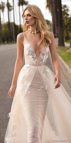 MUSE by BERTA Spring 2019 Wedding Dresses - City of Angels Bridal Collection | Non Strapless lace wedding dress with over skirt | A line bridal gown with with deep-v neckline | Unique a line bridal dress | #weddingdress #weddingdresses #bridalgown #bridal #bridalgowns #weddinggown #bridetobe #weddings #bride #weddinginspiration #weddingideas #bridalcollection #bridaldress #fashion #dress See more gorgeous bridal gowns by clicking on the photo