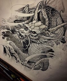 Dragon sketch for the up coming tutorial ! Check out @inkworkshops for more info!!!