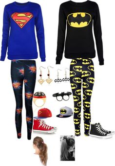With superman vs batman is coming this will be great to where with your BFF sleepover Best Friend Costumes, Best Friend Outfits, Best Friend Shirts, Best Friends, Super Hero Outfits, Cute Outfits, Rock Outfits, Edgy Outfits, Party Outfits