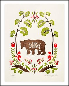 Folk Bear Print by Dutch Door Press on Little Paper Planes Art And Illustration, Folk Print, Paper Toy, Scandinavian Folk Art, Folk Embroidery, Embroidery Ideas, Bear Print, Letterpress Printing, Art Plastique