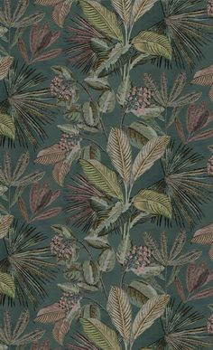 Tropical Wallpaper, Green Wallpaper, Home Wallpaper, Antique Wallpaper, Textures Patterns, Print Patterns, Tropical Leaves, Aesthetic Pictures, Cute Wallpapers