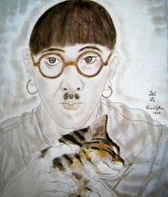 1928 Autoportrait au chat. Huile. 35x27. Acquis en 1937 par le Musée National d'Art Moderne Centre National d'Art et de Culture Georges Pompidou (Paris).