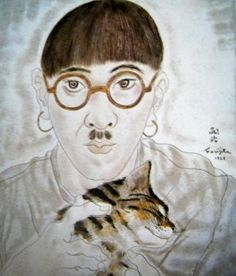 1928 Autoportrait au chat. Huile. 35x27.  Acquis en 1937 par le Musée National d'Art Moderne  Centre National d'Art et de Culture Georges Pompidou (Paris).