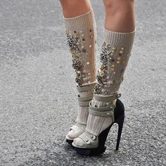 Miu Miu jeweled knee socks. Fun DIY project. Without the heels (well these heels)