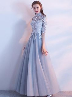 A-line High Neck Floor-length Half sleeve Tulle Prom Dress/Evening Dress # love it minus the buttons Gold Prom Dresses, Tulle Prom Dress, Prom Dresses For Sale, Trendy Dresses, Modest Dresses, Fashion Dresses, Formal Dresses, Bridesmaid Dress, Homecoming Dresses