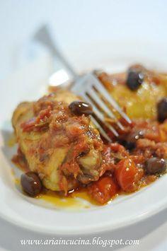 Blog di cucina di Aria: Sovracosce di Pollo con pomodorini del Piennolo e olive taggiasche