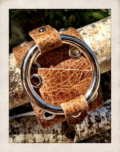 Tan leather cuff bracelet genuine leather cuff with by TornTo, $49.00
