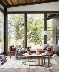 Living Room Windows, Living Spaces, Modern Classic, Mid-century Modern, Rustic Contemporary, Modern Desk, Best Interior, Interior Design, Modern Cabin Interior