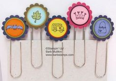 Fun Paper Clip bookmarks with Stampin' Up! punches - www.barbstamps.com