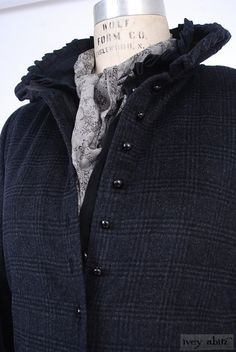 Canterbury Duster Coat in Inkwell Plaid Mohair, high water length, shorter sleeves. By Ivey Abitz.