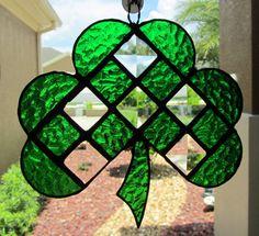Irish Shamrock Stained Glass Sun Catcher/ Light Catcher  ~ Green Clover Garden Decoration ~  Irish Lawn Ornament ~ 6.25 X 6 Inches