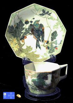 Rozenburg,  Eggshell Cup + Saucer, 1906, Decorator : Samuel Schellink.