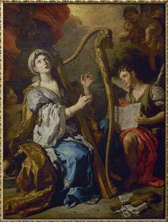 Francesco Solimena - Santa Cecilia e un angelo - 1695 circa - percorso Santi - Accademia Carrara di Bergamo Pinacoteca