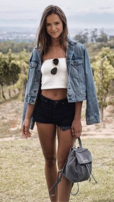 What To Wear With A Denim Jacket White Top Plus Backpack Plus Shorts