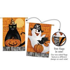 Halloween Night Ghost and Black Cat Two Sided House Flag *** Check this awesome product by going to the link at the image.